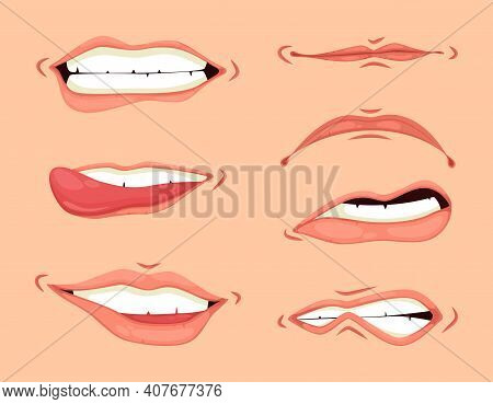 Cartoon Mouth Expressions Set. Hand Drawing Laughing Show Tongue, Happy And Sad Mouth Poses Vector S