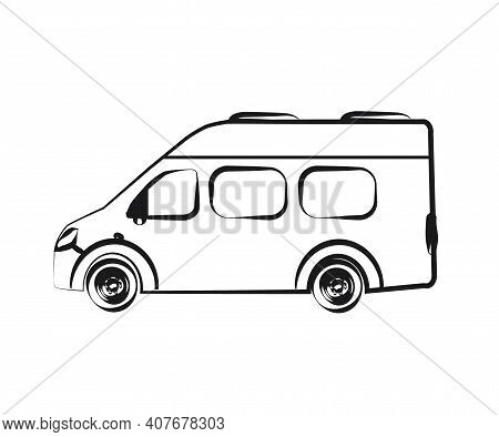 Auto Gazelle On A White Background. House On Wheels. Silhouette. Vector Illustration.