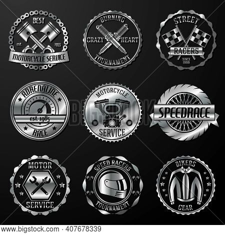 Motorcycle Racing Tournament Motor Service Emblems Metallic Set Isolated Vector Illustration
