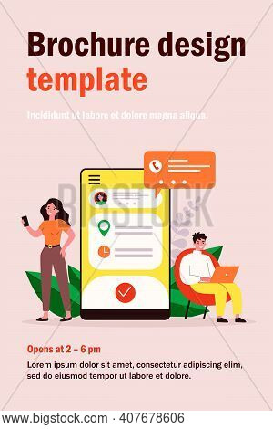 People Using Appointment Business Application. Man And Woman Planning Meeting With Online App. Vecto