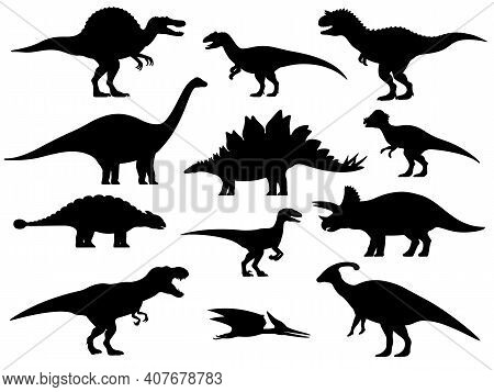 Set Silhouettes Of Dinosaurs. Vector Illustration Group Of Black Dinosaur Silhouette Icons Isolated