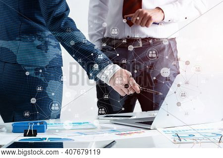 Business Partnership Concept With Business People. Office Desk With Financial Analytics. Business Me