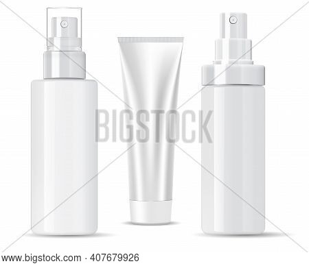 White Cosmetic Bottle. Shampoo, Spray Product. Sample Bath Container Mockup. Empty Package With Pump