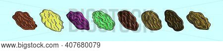 Set Of Raisin Cartoon Icon Design Template With Various Models. Modern Vector Illustration Isolated