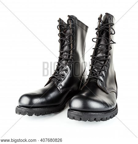 Three Quarter Front View On Pair Of Black Leather 10-inch New Black Military Combat Boots, Isolated