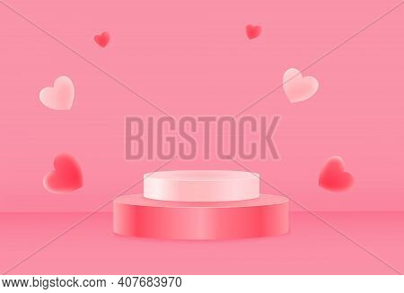 Pink Podium Or  Showcase To Place Products With Hart Isolate On Pink Background For Wedding And Vale