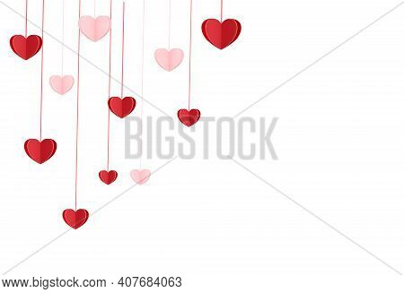 Valentine Day, Hanging Heart Paper On White Background , Love Romantic Concept  Vector Illustration