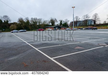 Chester; Uk: Jan 29, 2021: The Little Roodee Car, Coach And Lorry Park Is Very Quiet On A Damp Frida