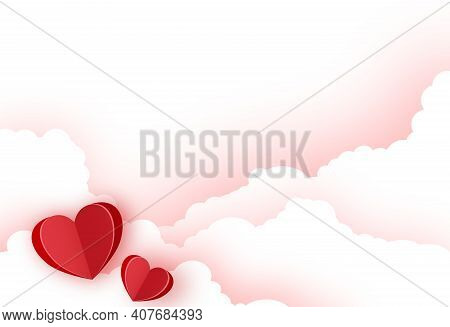 Valentine's Day With  Paper Hearts On Clouds Background, Vector Illustration