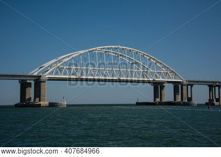 Crimean Bridge Across The Kerch Strait On A Clear Day Russia