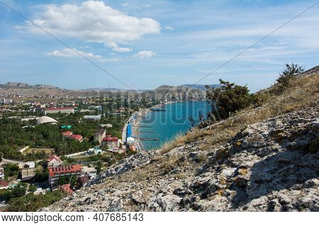 Aerial View On The Beach Of Sudak In Crimea