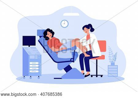 Doctor Examining Patient In Gynecological Chair. Woman Visiting Doctor For Cervix Checkup Screening.