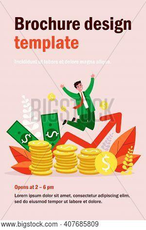 Happy Banker Jumping Over Coins Flat Vector Illustration. Cartoon Rich Businessman Celebrating Finan
