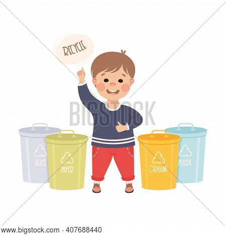Boy Collecting Rubbish For Recycling, Kid Segregating Trash, Save The World, Ecology Concept Cartoon