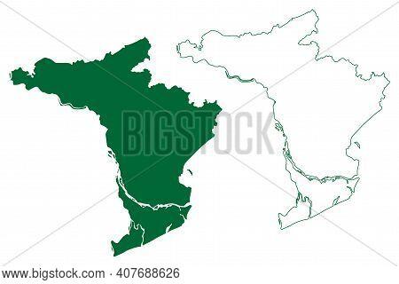 East Godavari District (andhra Pradesh State, Republic Of India) Map Vector Illustration, Scribble S