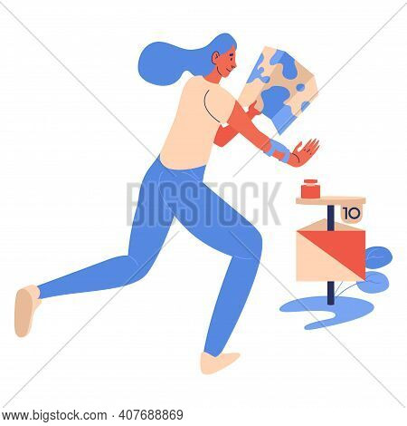 Woman Running To The Check Point During Orienteering Game Competition. Cartoon Isolated On White Cha