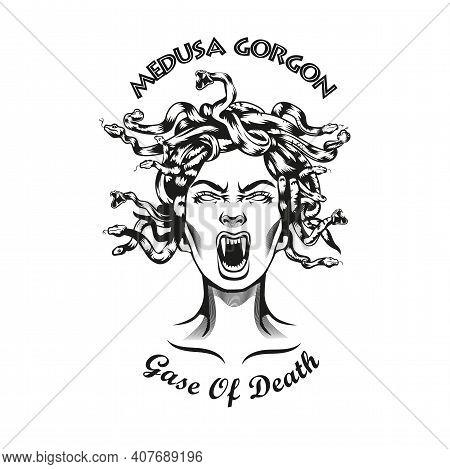 Creative Emblem Head Of Medusa Gorgon. Monochrome Design Element With Female Myth Creature With Snak