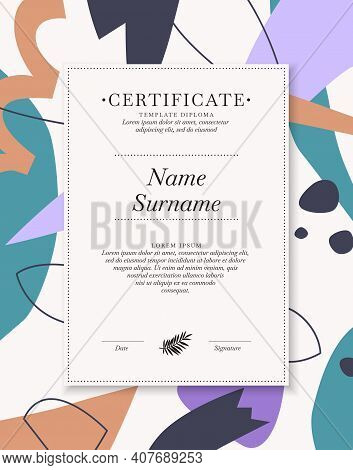 Certificate Template For Posting Your Information And Text. The Design Of The Certificate Of Honor I