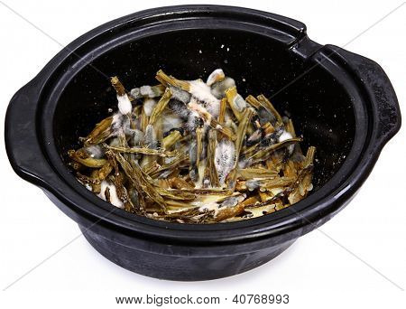 Green Bean Vegetables In Bowl With Mold Growing