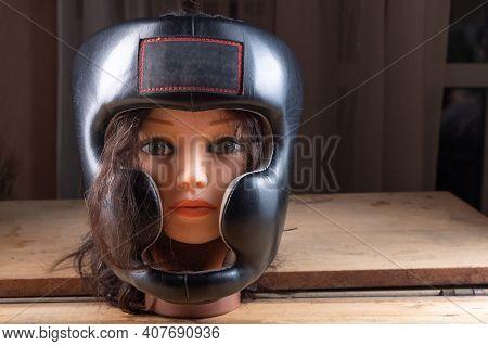 Sports Helmet For Head Protection. Helmet For Various Martial Arts. Training Helmet. Helmet On A Man