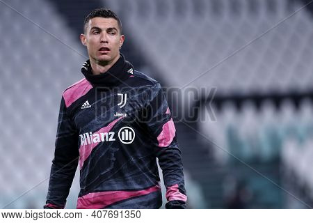 Torino, Italy. 09th Fabruary 2021 . Cristiano Ronaldo Of Juventus Fc  During The Coppa Italia Semi-f