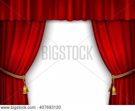 Red Stage Open Theater Velvet Curtain With Gold Textile Tassels Isolated Vector Illustration