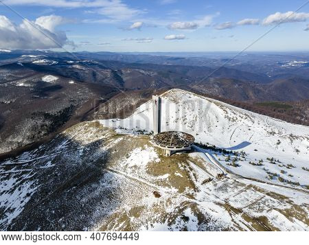 Buzludha, Bulgaria - January 24, 2021: Aerial View Of Abandoned Memorial House Of Bulgarian Communis