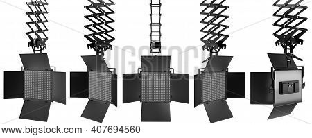 Photography Studio Led Flash Light On Ceiling Pantograph Isolated On White With Clipping Path And Cu