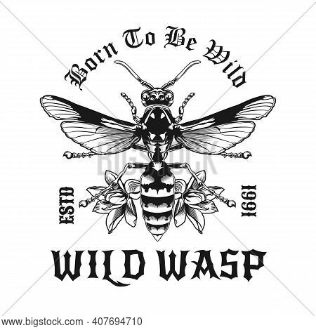 Creative Tattoo Of Wild Wasp Vector Illustration. Top View Of Venomous Wasp. Dangerous Insects And F