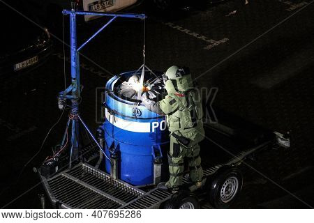 Lubartow, Poland - 11 February 2020: Technician Of Police Bomb Disposal Unit Is Covering Explosive M