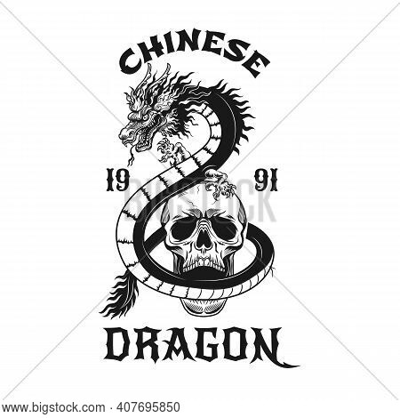 Dragon And Skull Tattoo Design. Monochrome Element With Mythical Beast And Dead Head Vector Illustra
