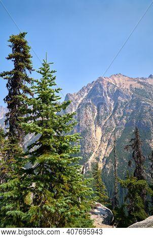 Rainy Pass North Cascades National Park Vertical. Mountain Peaks In North Cascades National Park. Wa