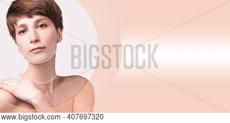 Skin Plastic Surgery Concept. Woman Face With Marks And Arrows
