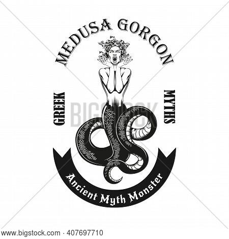 Trendy Vintage Badge With Medusa Gorgon Vector Illustration. Monochrome Dread Woman With Snakes For