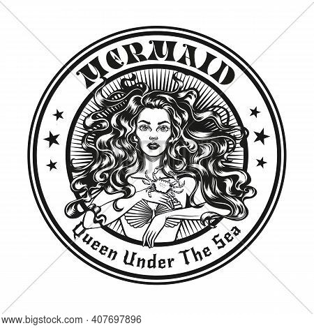 Mermaid Emblem Or Stamp Design. Monochrome Element With Girl In Seashell Bra Vector Illustration Wit