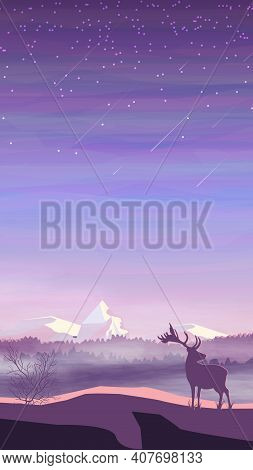 Evening Landscape, Pine Forest In Fog, Deer And Snowy Mountains, Starry Sky With Falling Stars. Vect