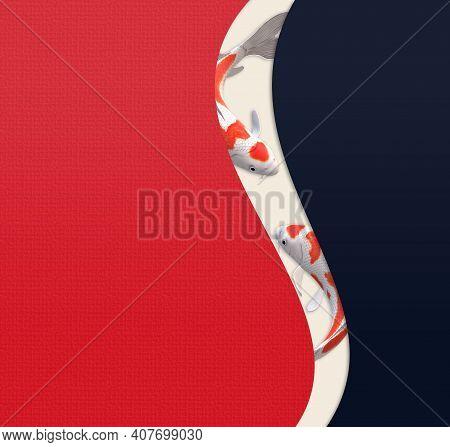 Koi Carp Fish, Abstract Minimalist Design, Oriental Style. Chinese Style Background With Koi Carp Fi