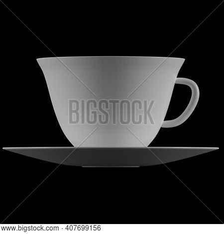 White Ceramic Cup Mockup With Tea Saucer View Profile Butt 3d Rendering Isolate