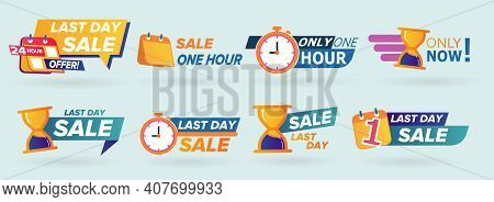 Sale Countdown Badges. Last Minute Offer Banner, One Day Sales And 24 Hour Sale Promo Stickers. Brig