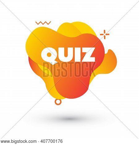 Quiz Logo In Liquid Bubble Style. Quiz Brainy Game. Vector