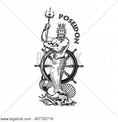 Poseidon Tattoo Design. Monochrome Element With God Of Sea, Waves, Rudder Vector Illustration With T