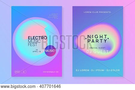 Music Fest Set. Electronic Sound. Night Dance Lifestyle Holiday. Modern Disco Event Brochure Layout.