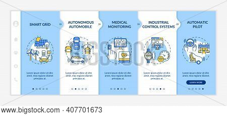 Cyber-physical Systems Implementation Onboarding Vector Template. Smart Grid. Medical Monitoring. Au
