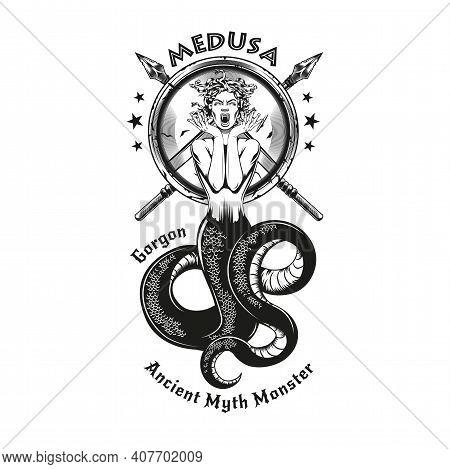 Black Vintage Badge With Medusa Gorgon Vector Illustration. Monochrome Woman With Snake Tail Screami