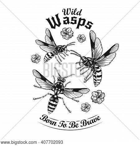 Engraving Flying Wild Wasps Tattoo Vector Illustration. Vintage Wasps And Flowers. Dangerous Insects