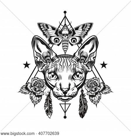 Sphinx Head Tattoo Template. Monochrome Element With Ornate Furless Cat Vector Illustration With Tex