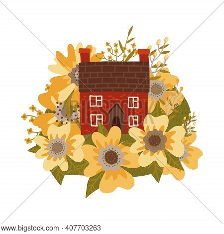 Cute Old Houses Among Huge Yellow Spring Wildflowers. Lovely Cartoon Building Illustrationin In Flat