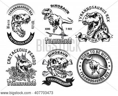 Monochrome Labels With Tyrannosaur Rex Vector Illustration Set. Retro Emblems With Powerful Ancient