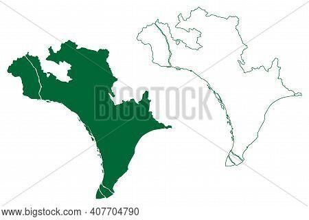 Krishna District (andhra Pradesh State, Republic Of India) Map Vector Illustration, Scribble Sketch