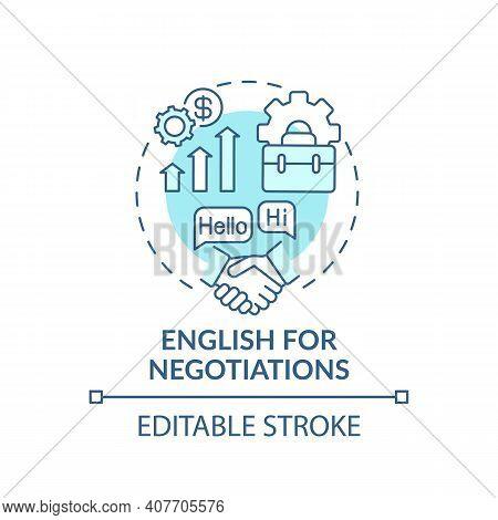 English For Negotiations Concept Icon. Business English Aim Idea Thin Line Illustration. Communicati